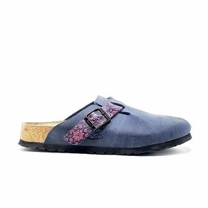 Birki's Birkenstock Leather Slip On Blue Clogs